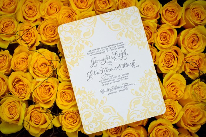 Elegant letterpress wedding invitations from Bella Figura printed in yellow & gray ink