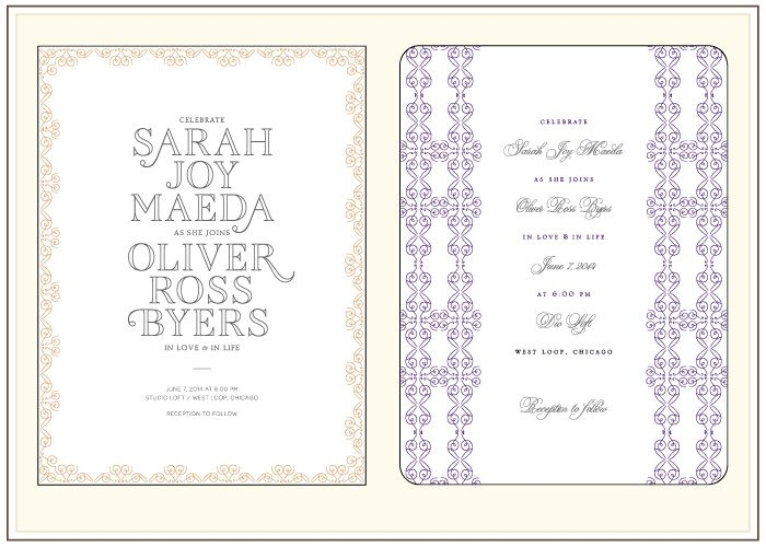 A before and after look at one of Bella Figura's new 2012 letterpress invitation designs, La Salle