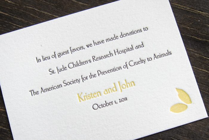 Bella Figura offers free letterpress favor cards for couples who donate to charity in lieu of favors.