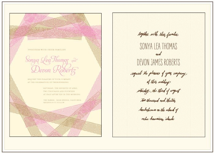 "A before and after look at the new Bella Figura design ""New Washi"" by Kamal, an invitation design based on washi tape."