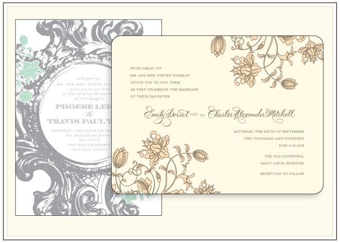 A before and after customization look at the Bella Figura letterpress invitation Rococo Elegance