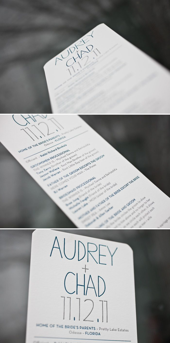 modern and sleek letterpress wedding programs