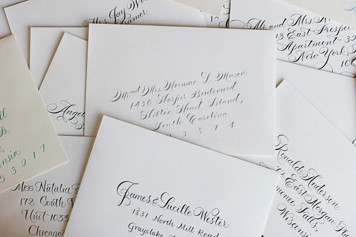 Hand calligraphy for envelope addressing makes the perfect finishing touch for wedding invitations