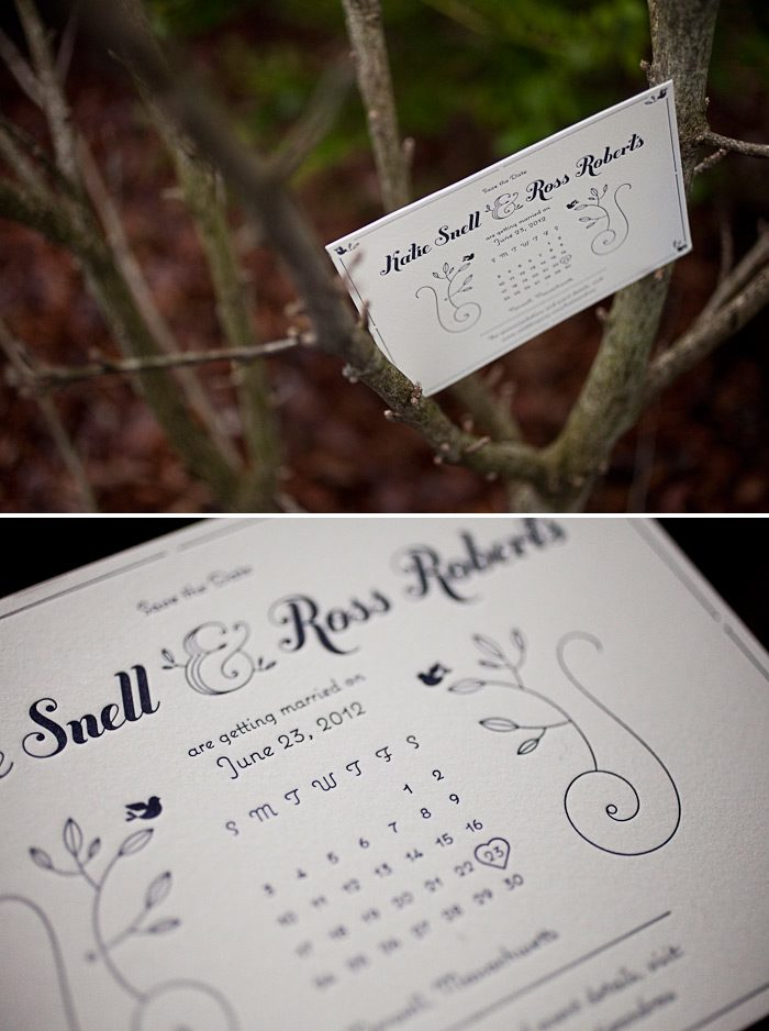 letterpress calendar save the dates