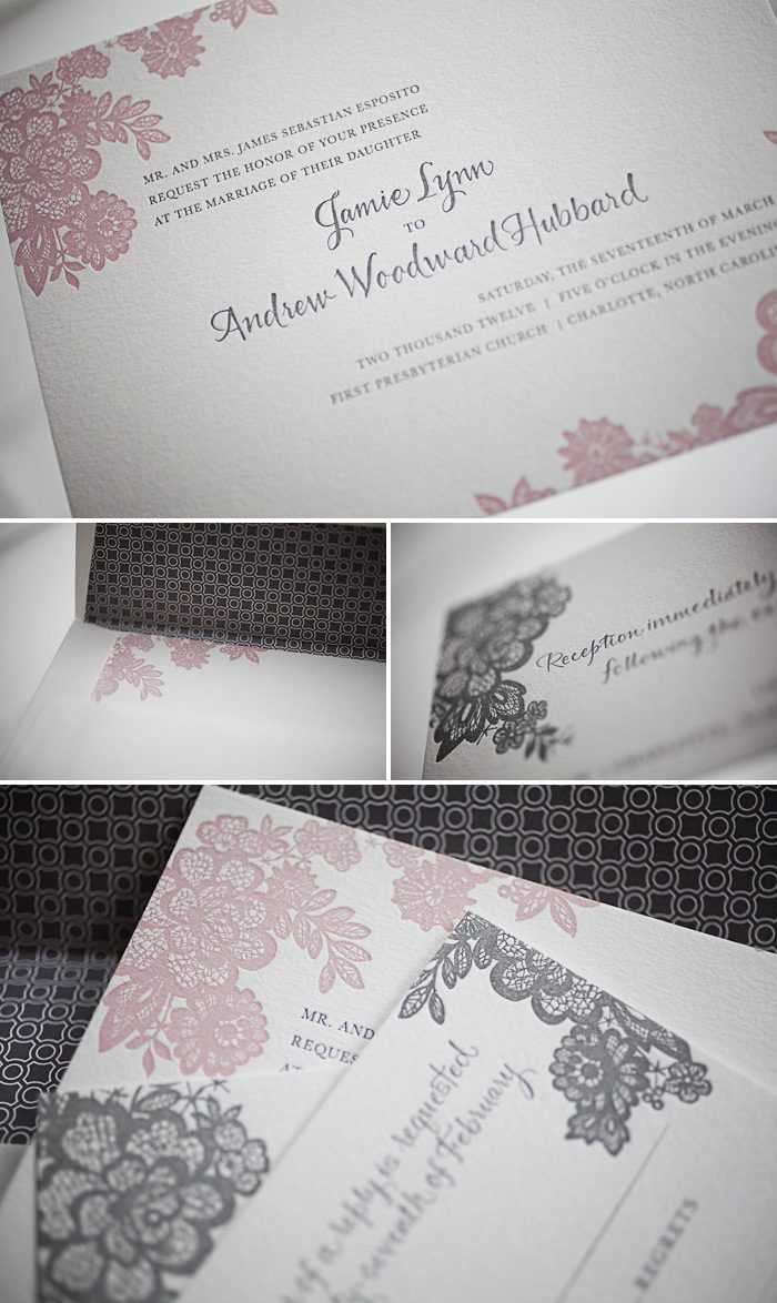 romantic letterpress wedding invitations
