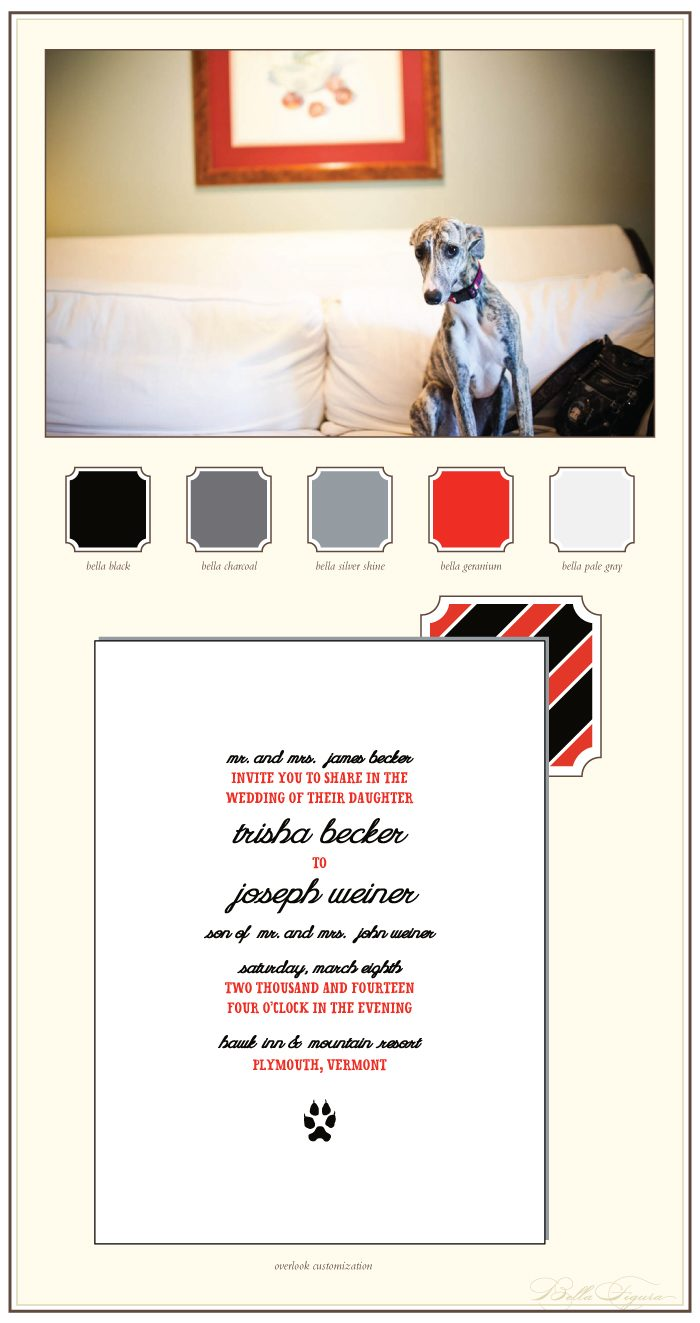 letterpress wedding invitations for a pet lover