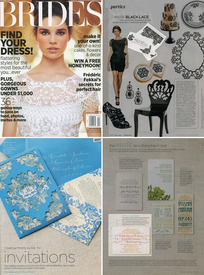 Brides magazine featured Bella Figura invitations in their April Issue! The Lace design and String Calligraphy invitations were both featured.