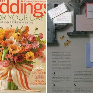 Bella Figura's String Calligraphy invitations were featured in the spring issue of Martha Stewart Weddings