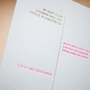 Letterpress invitations that feature foil stamping and the Bella Figura Unique Minimes design, printed for the 2012 national stationery show