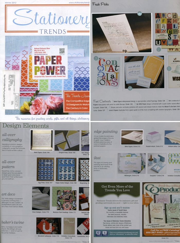Stationery Trends magazine featured several Bella Figura wedding invitations