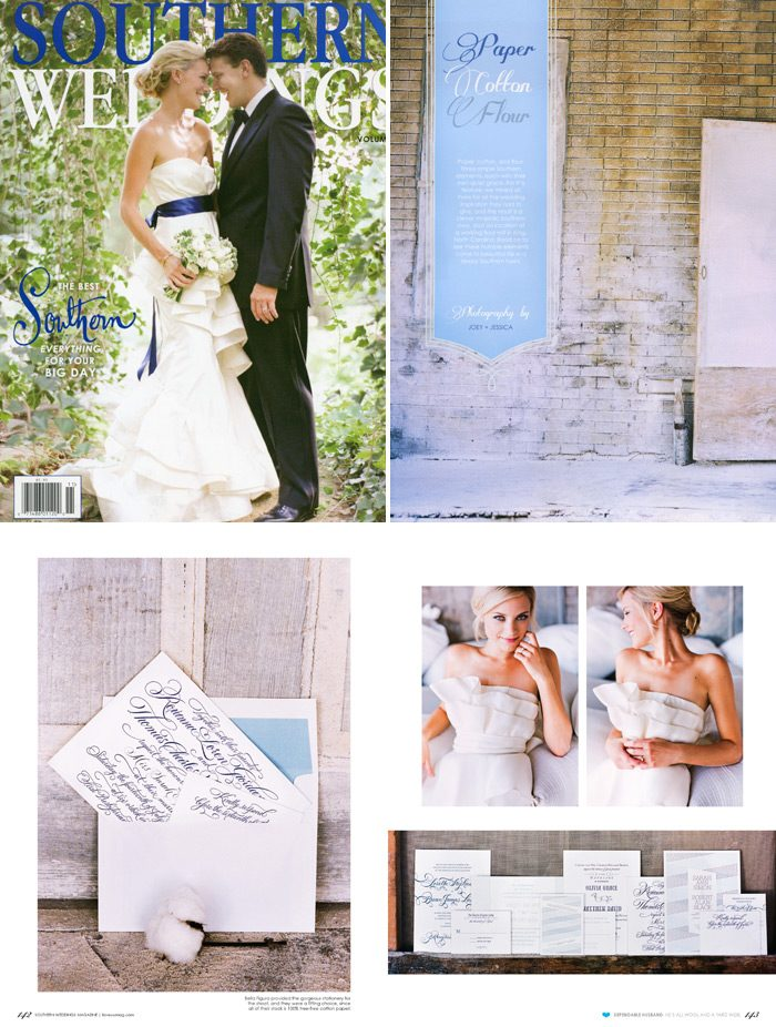 The Paper, Cotton & Flour spread of Southern Weddings Magazine featured several Bella Figura invitations