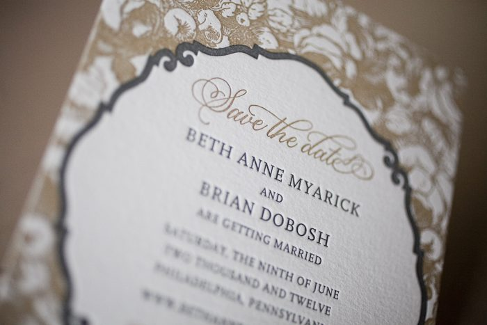 elegant letterpress save the dates