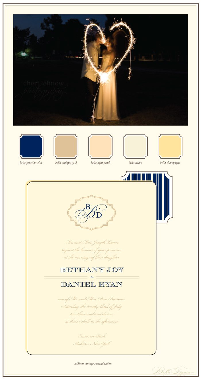 Addison Vintage letterpress wedding invitation