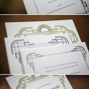art deco modern letterpress wedding invitations