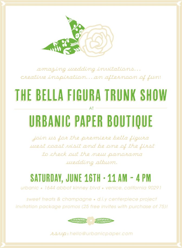 Bella Figura + Urbanic are teaming up for a trunk show! Saturday, June 16 from 11am-4pm