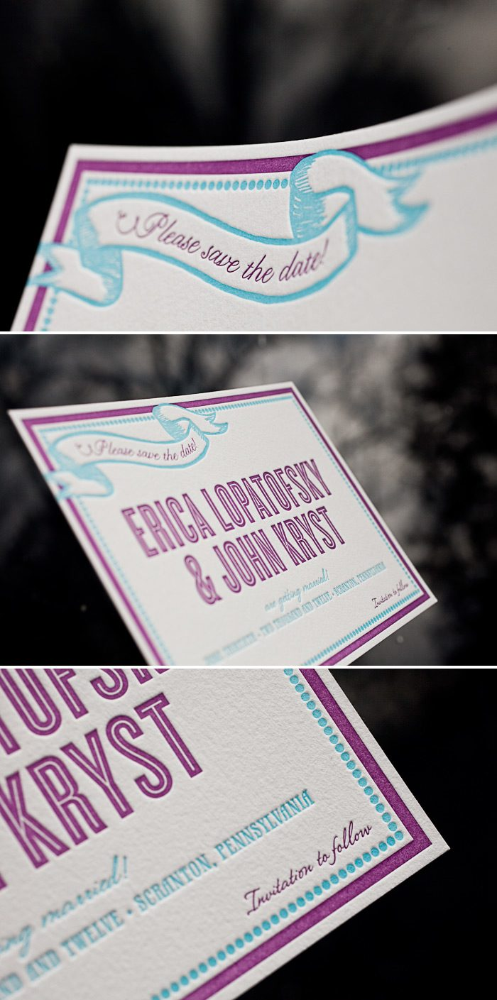 colorful letterpress save the dates