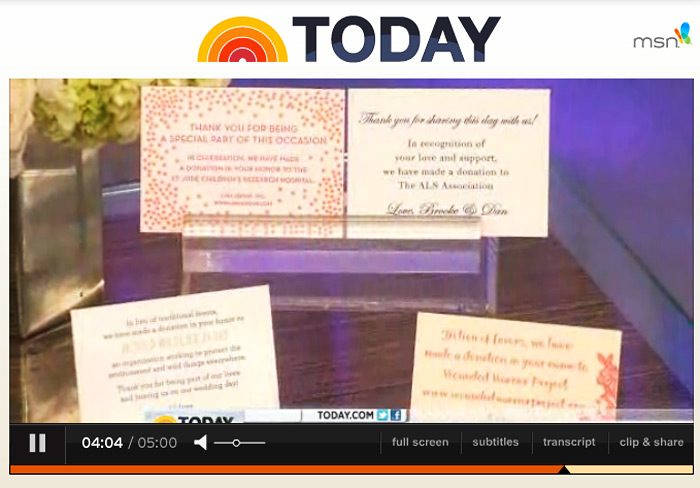 Bella Figura's free charitable favor cards were featured on the Today Show on June 11, 2012