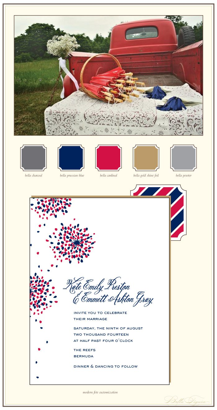 This is a customization of our Modern Fete design. Paired with red, white and blue this design is perfect for a festive summer wedding.