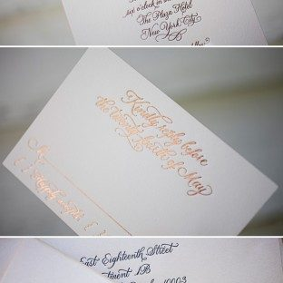 This is a customization of Bella Figura's Classic Calligraphy design using foil stamping in copper shine.