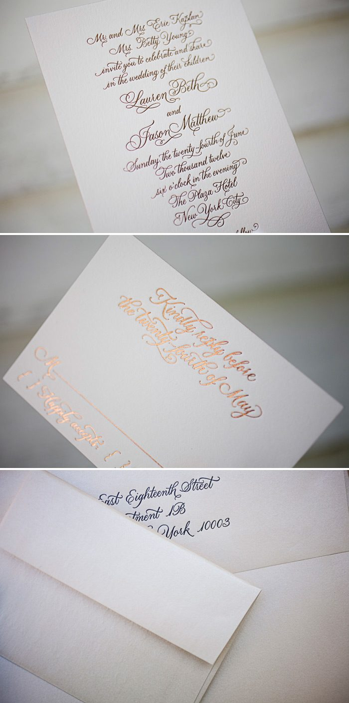 This is a customization of Bella Figura's Victoria Calligraphy design using foil stamping in copper shine.