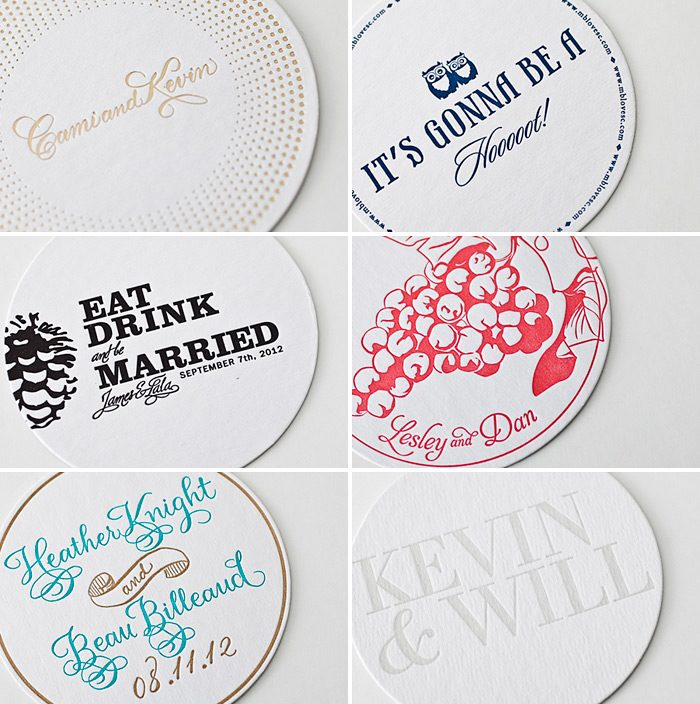 Letterpress & foil stamped coasters from Bella Figura - printed on 100% recycled coaster stock!