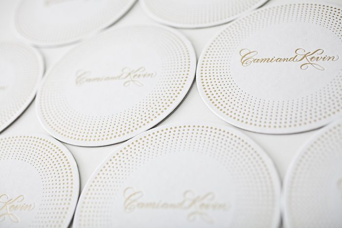 Gold matte foil stamped coasters from bella Figura