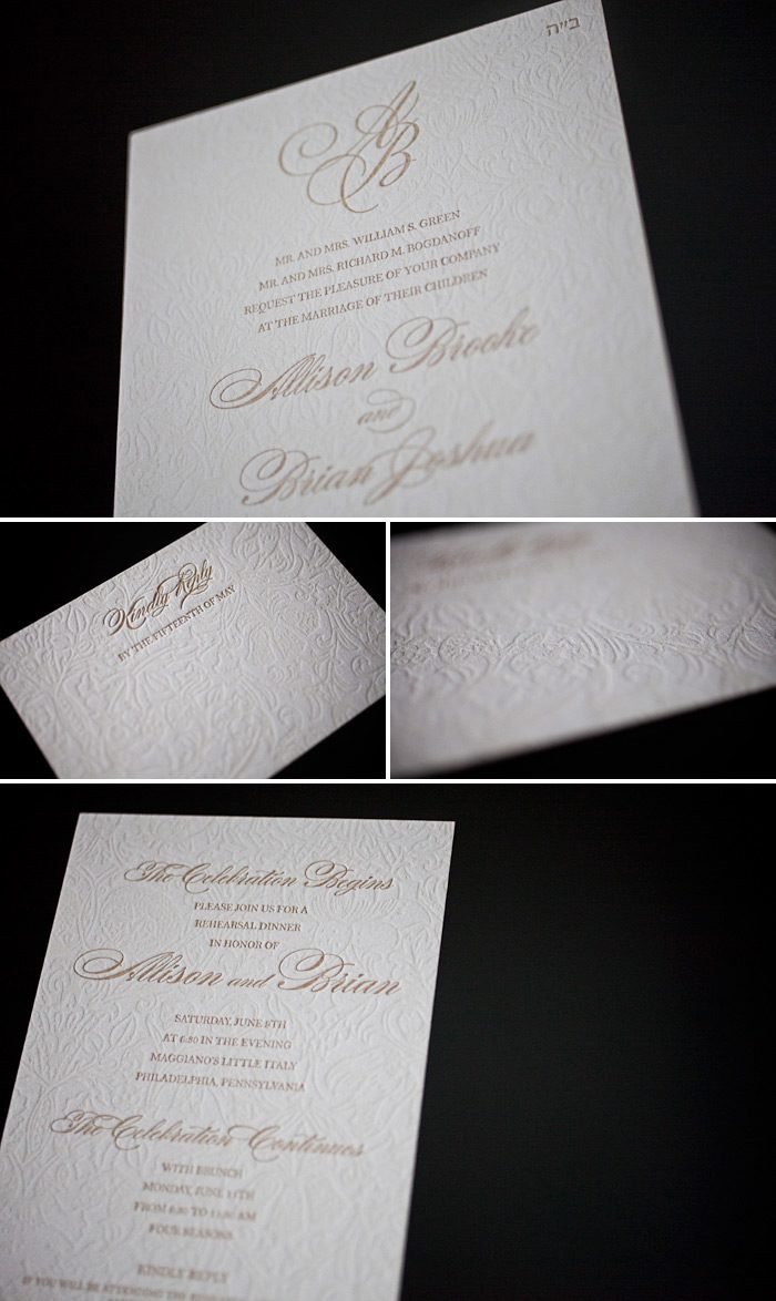 This is a customization of Bella Figura's Cecilia letterpress wedding invitation design. Letterpressed in cream and antique gold it is a very romantic style.