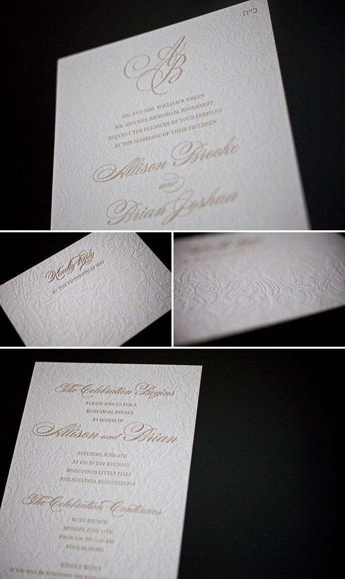 This is a customization of Bella Figura's Cecilia letterpress wedding invitation design. Letterpressed in cream and antique gold it is a very romantic style.