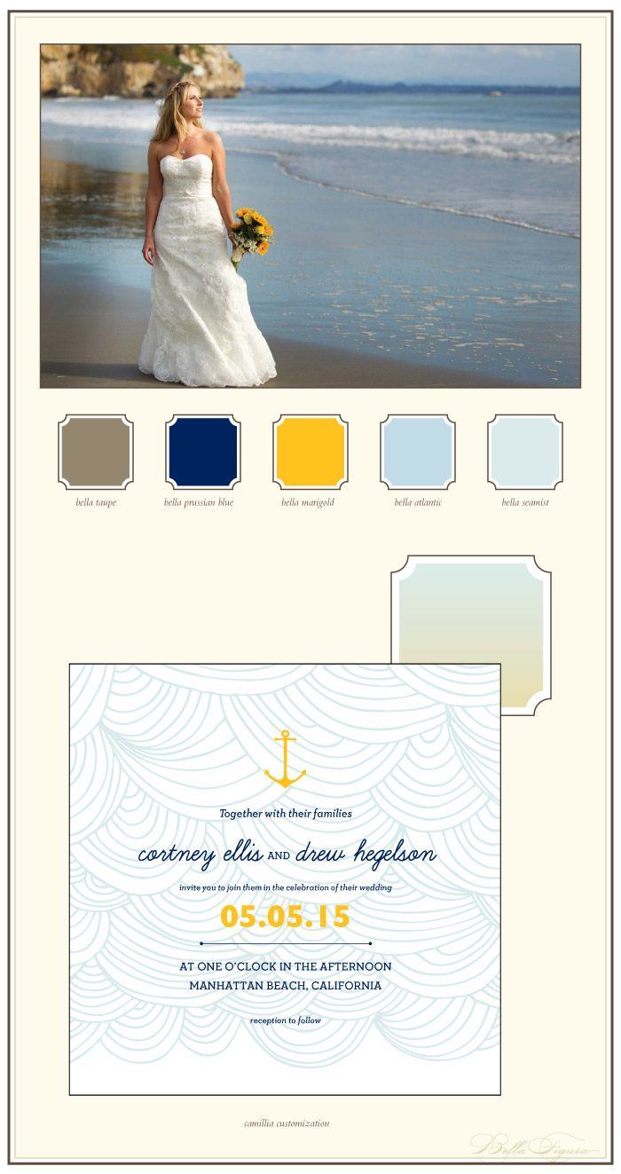 This is a Bella Figura designer customization of our Camilla design. It features nautical inspiration and a sea inspired color palette.