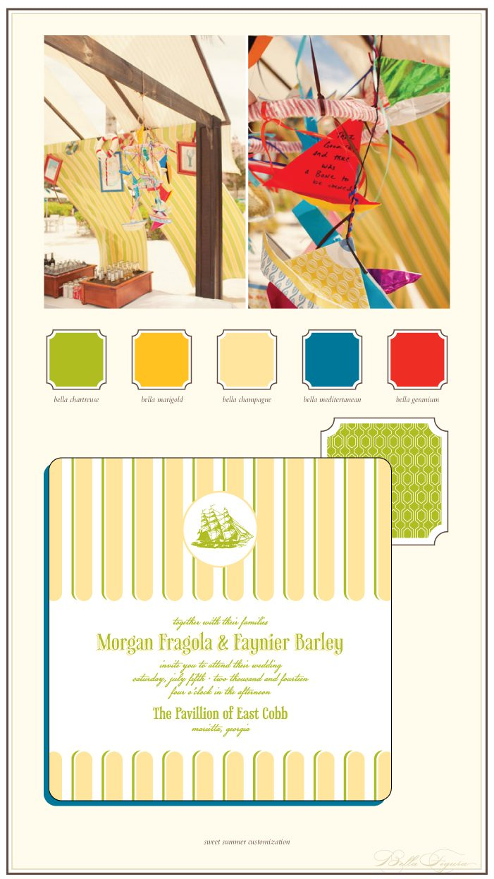 This is a Bella Figura designer customization of our Sweet Summer design. It features colorful nautical inspiration perfect for a beach wedding