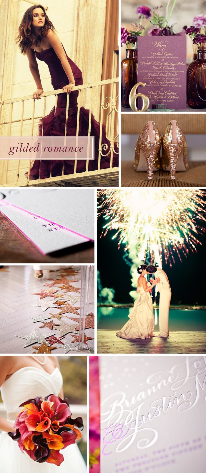 Sparkling shoes, a rich plum dress and glittering fireworks inspired Bella Figura's Gilded Romance design
