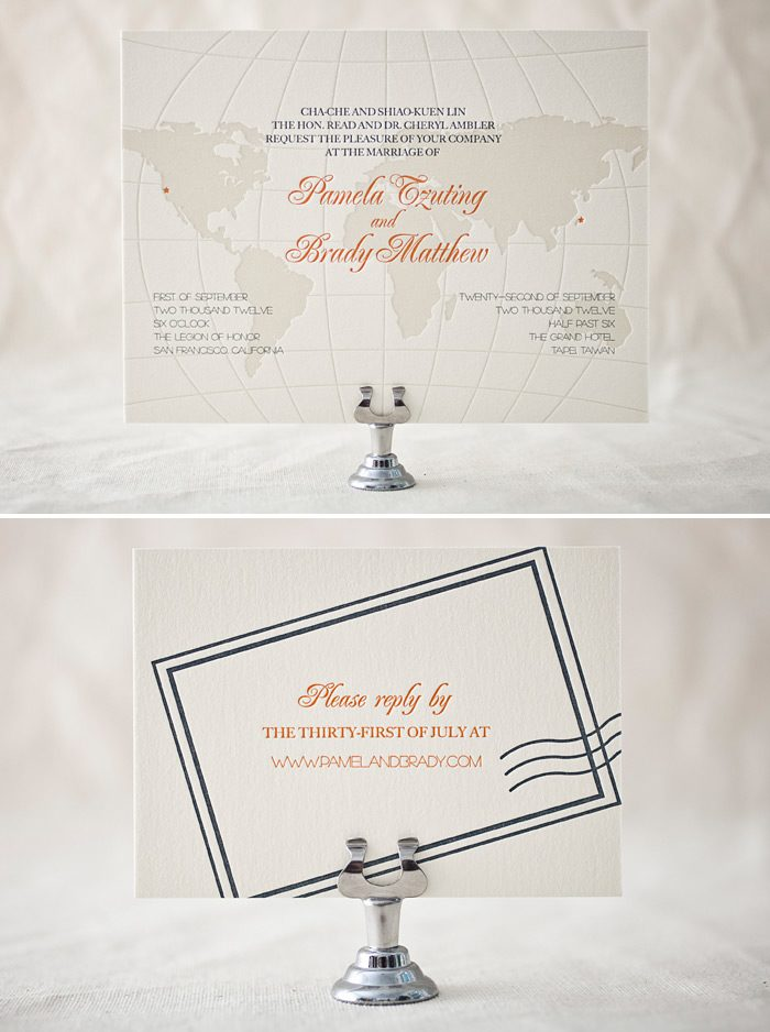 A beautiful 3-color letterpress customization of the Bella Figura Classic Destination design!