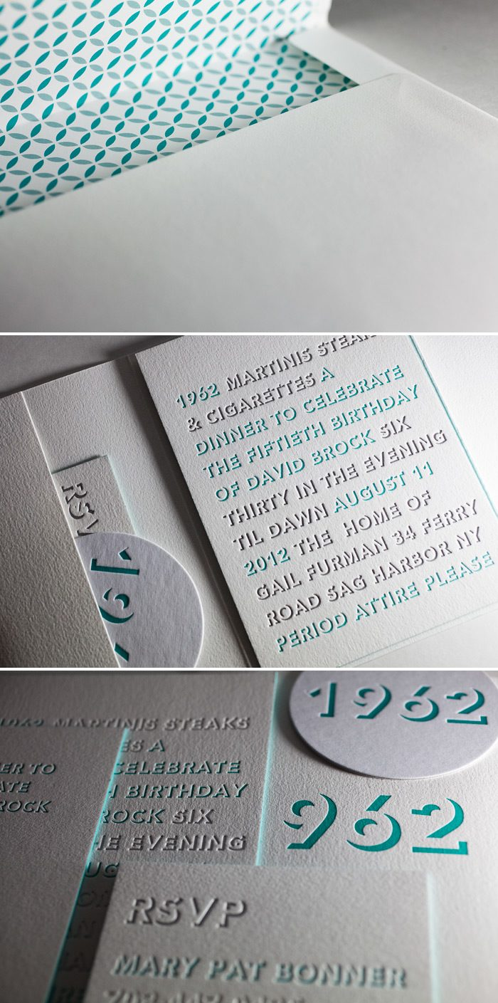This is a customization of Bella Figura's Bennet Simple design featuring letterpress and foil stamping.