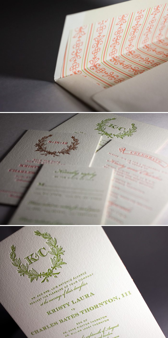 This is a customization of Bella Figura's Ashwell design featuring letterpress and foil printing.