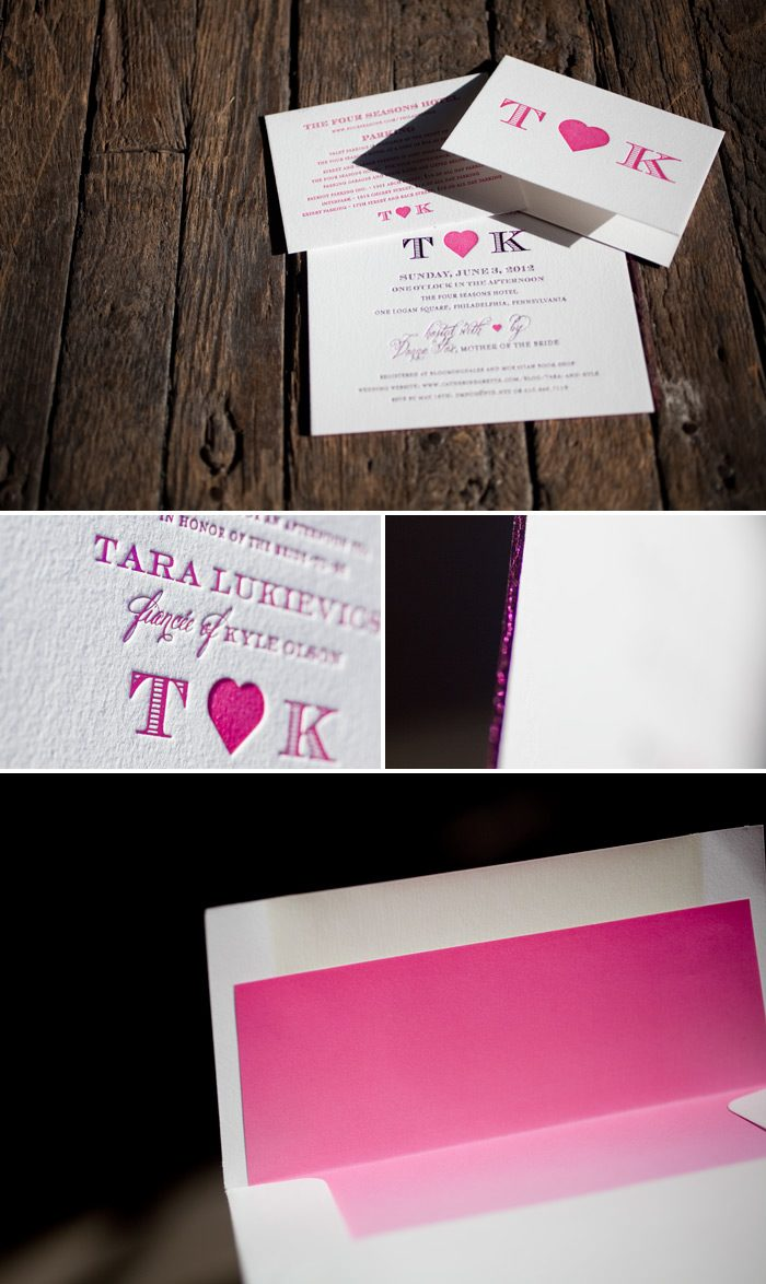 This is a Bella Figura custom letterpress + foil stamping design that is pretty in pink.