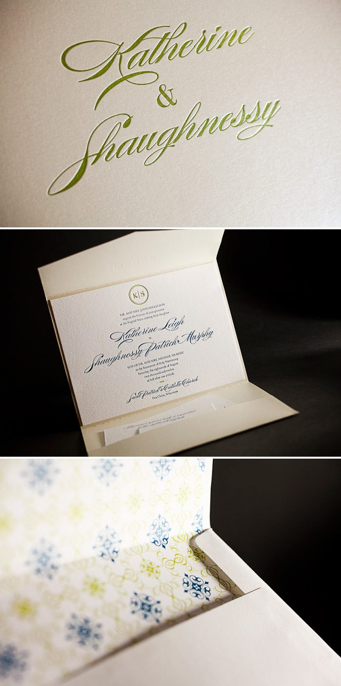This is a customization of Bella Figura's Deveril design letterpress printed in chartreuse and mediterranean inks. It features a letterpress printed pocketfold.