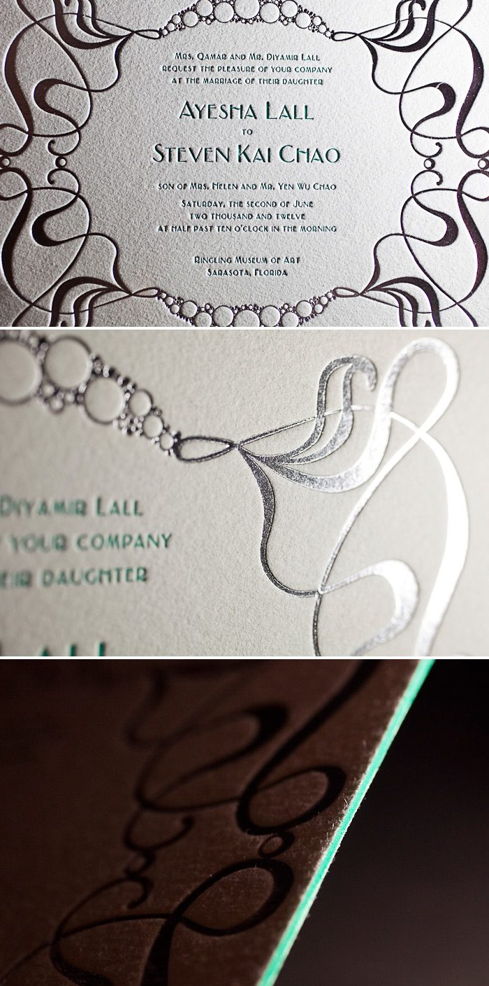 This is a customization of Bella Figura's Emile design that is both letterpress printed and foil stamped.