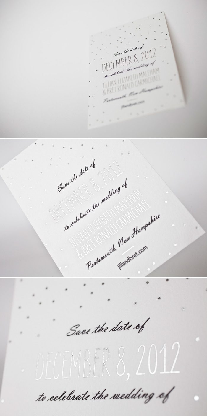 This is a customization of Bella Figura's Simple Dot design perfect for a winter wedding in black letterpress and silver shine foil.