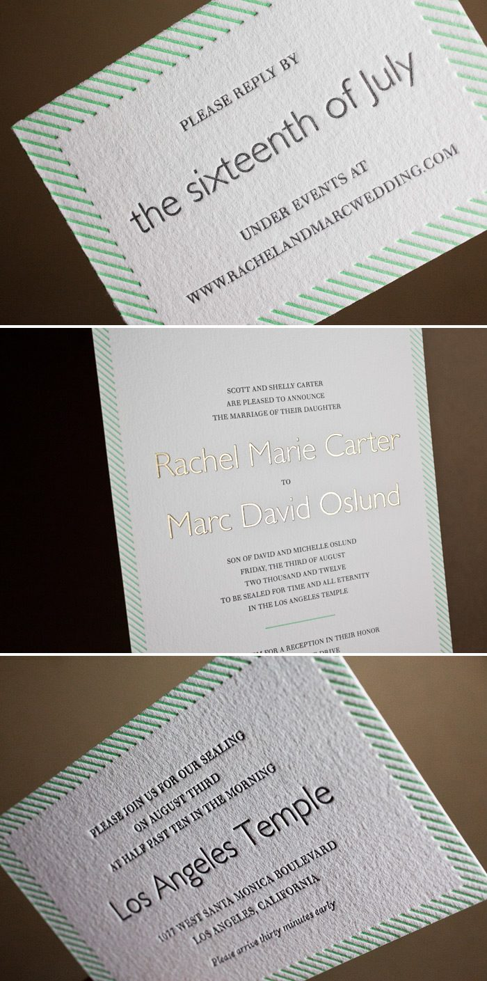 This is a customization of Bella Figura's Simple Stripes design featured in 2 color letterpress inks and 1 color foil.