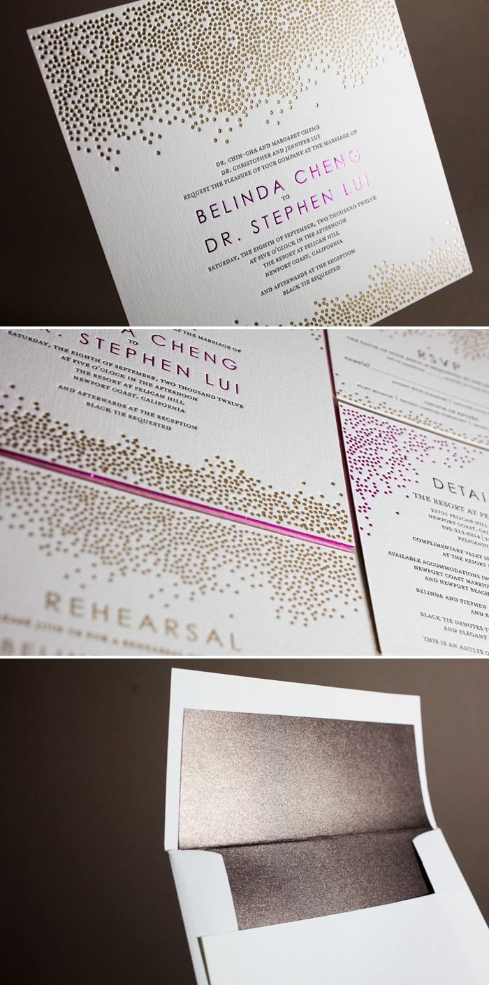 This is a customization of Bella Figura's Joie de Vivre design that is sleek in letterpress and foil printing.
