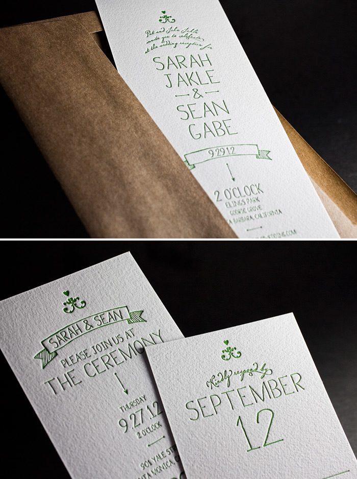 This is a customization of Bella Figura's Dash design that is letterpressed in garden ink.