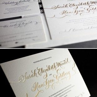 This is a customization of Bella Figura's Loretta Formal design featuring letterpress and foil stamping.
