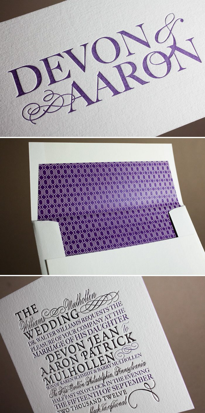 This is a customization of Bella Figura's Typology design featuring letterpress and foil printing.