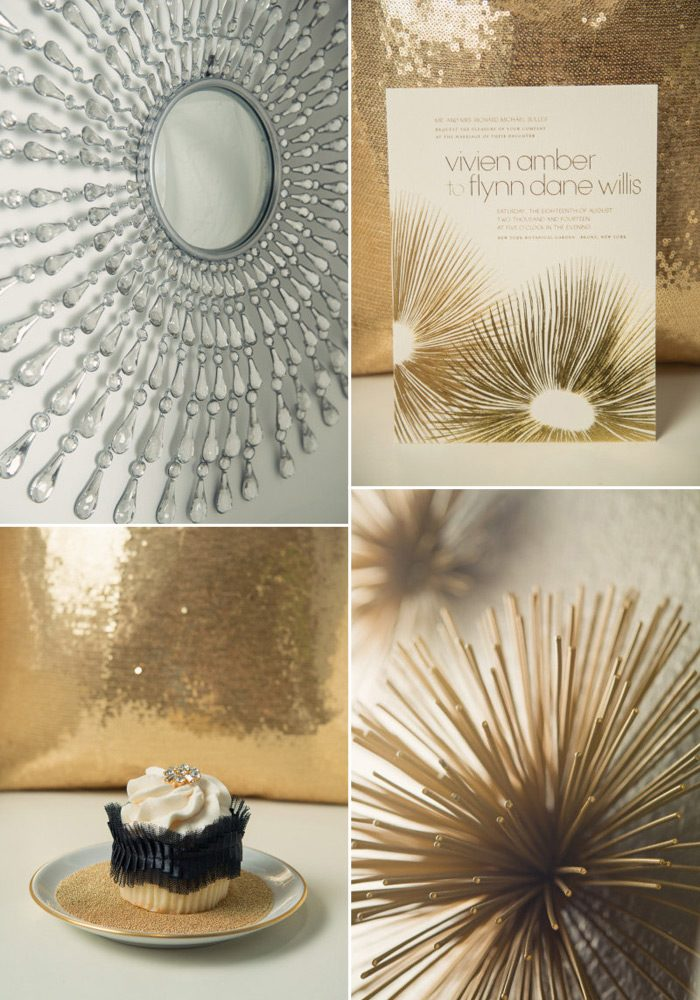 Shawna Marie styled this beautiful save the date party with pretty gold touches and our Glamorous Blooms invitation design