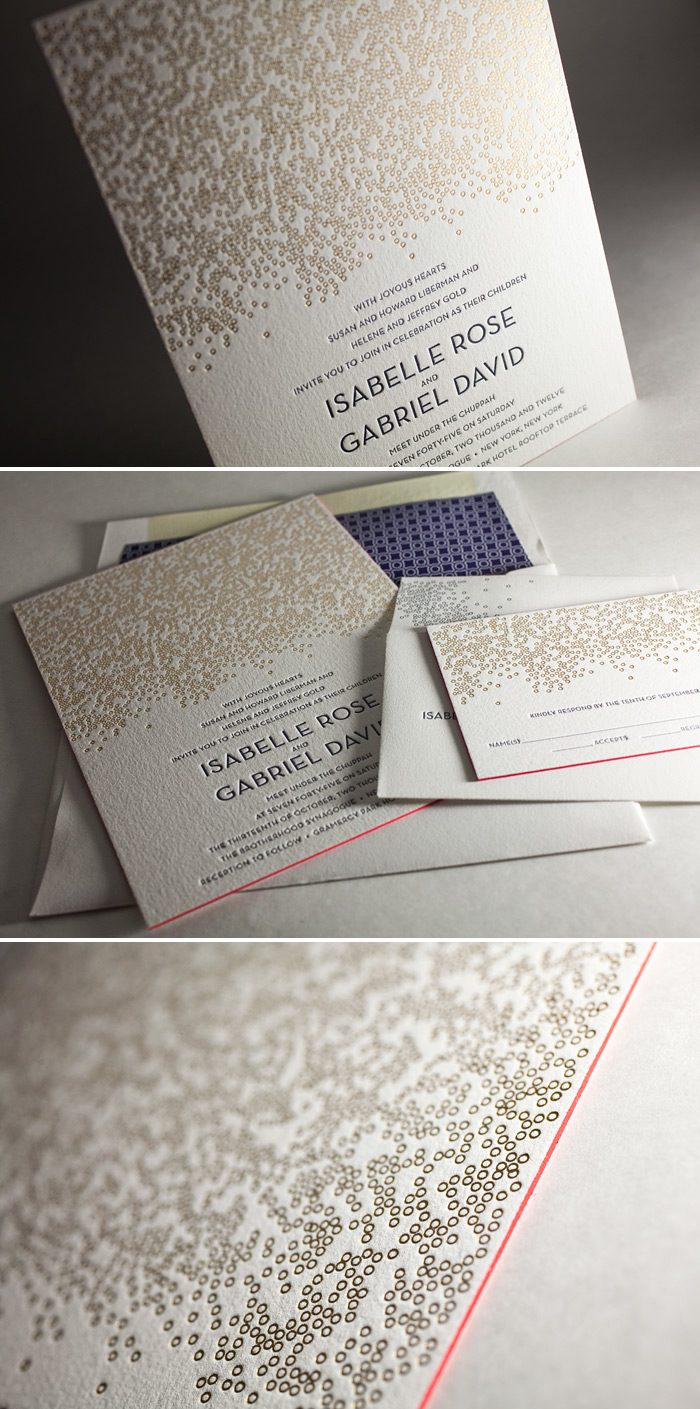This letterpress and foil customization of our Joie de Vivre design shines.