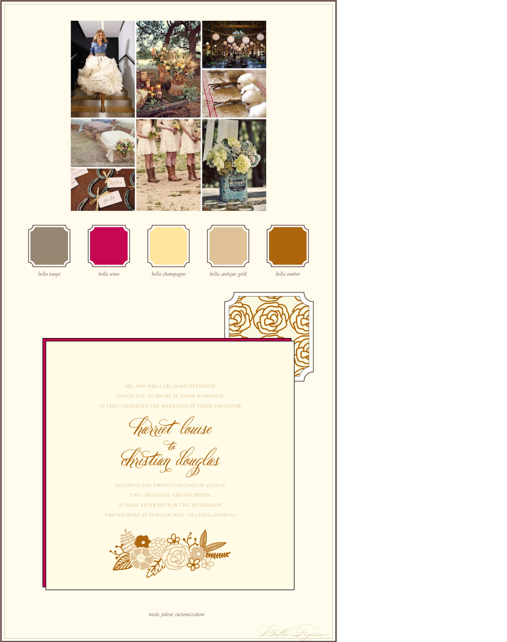 This is a customization of Bella Figura's Rustic Jolene design that is perfect for an autumn wedding.