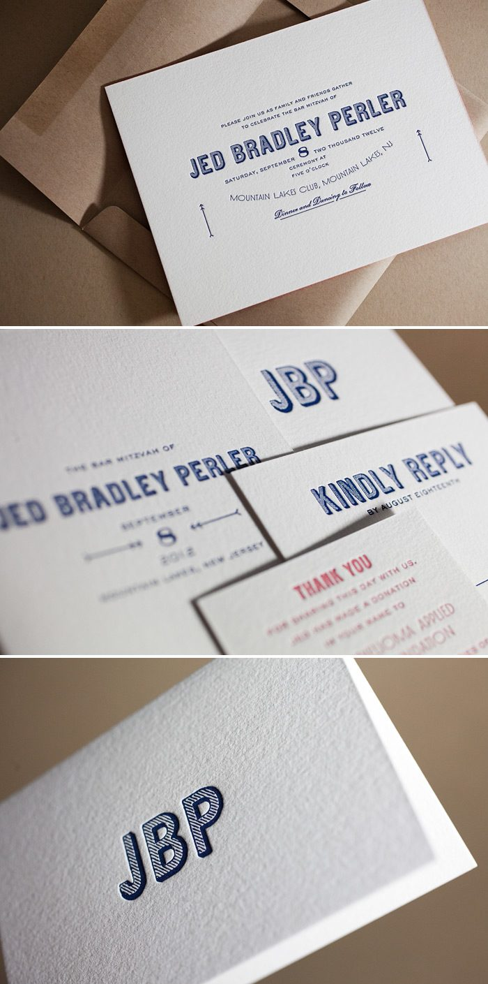 These are bar mitzvah letterpress invitations by Bella Figura's in the Carte de Visite design.