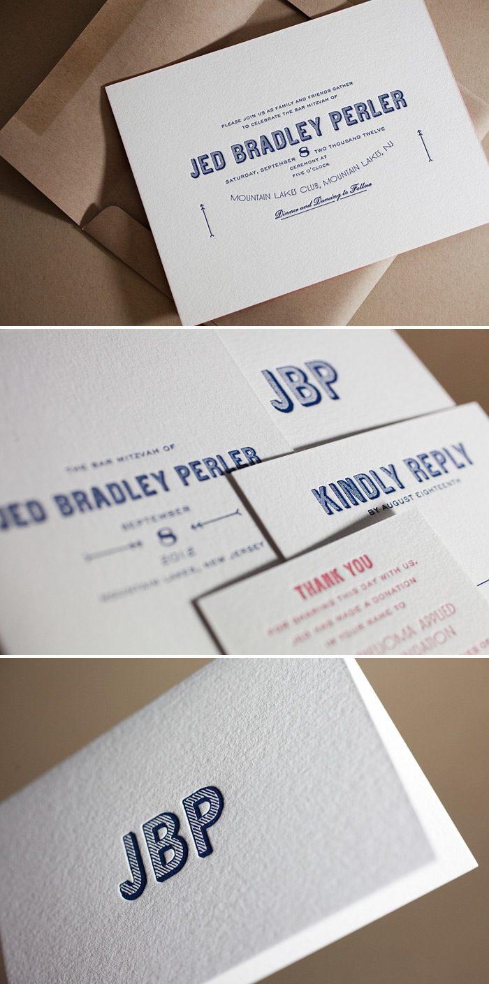 These Are Bar Mitzvah Letterpress Invitations By Bella Figuras In The Carte De Visite Design