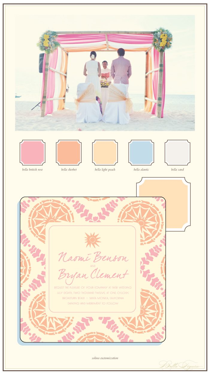 Pretty pinks mixed with vibrant oranges work perfectly for a destination wedding on the beach