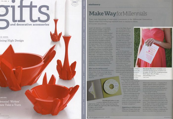 Bella Figura's neon Storybook Romance invitation was featured in Gifts and Decorative Accessories Magazine